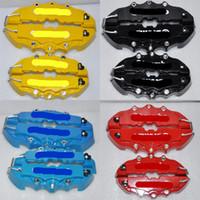 автомобильные дисковые тормоза оптовых-4шт красный / черный / желтый / синий 3D задние крышки суппортов с тиснением Brem Fit плоскогубцы крышки автомобиля Универсальные крышки дискового тормоза передние задние