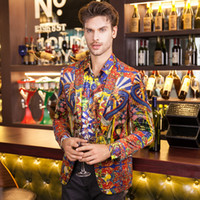 Wholesale Colorful Blazers - Mens Royal colorful Printed Blazer Pattern Slim Fitted Prom Blazers Men One Button Suit Jacketsuit,ty1496