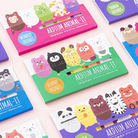 marqueur d'animal collant achat en gros de-Vente en gros - Papeterie coréenne Lovely Animal Memo pad notes collantes kawaii stickers planner Bookmark Subsidies fournitures de bureau BinFen