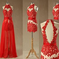 Wholesale Removable Prom Dress Sheath - Gorgeous Short Mini High Neck Prom Dresses with Removable Skirt Sexy Open Back Sleeveless Beads Crystals Red Lace Appliques Party Gowns