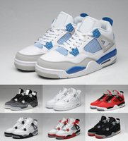 buy hot-hot - 2017 Top Quality Retro 4s Men Basketball IV Shoes 4 White Cement Toro Bravo four Superman Bred Thunder Sports Shoes size 40-46 free shipping