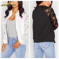 Wholesale womens short jacket black - Wholesale- Adogirl Black White Lace Bomber Jacket Women Zipper Basic Coats 2016 Fashion Long Sleeve Causal Short Womens Jackets Plus Size