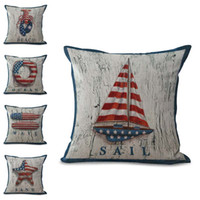 Wholesale Compass Pillow - America Flag Boat Anchor Compass Life Buoy Pillow Case Cushion Cover Linen Cotton Throw Pillowcases Sofa Car Decorative Pillowcover PW684