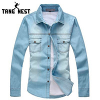 Wholesale Thin Breathable Jacket - 2017 New Vintage Men's Fashion Breathable Denim Thin Jacket Long Sleeve Light Blue Top quality Hot Selling Jean Jacket MCL139