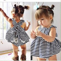 Wholesale Striped Top Dress - INS Baby Kids Clothing Adorable Girls Clothes Princess Lace White Blue Dress + PP Pans 2pcs Sets Babies Tops Pants Outfits Lovely