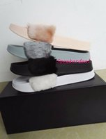 Wholesale Box Leather Bag - (Send With Box and Dust Bags) Rihanna fenty Slippers,Rihanna Fenty LEADCAT Fur Slide Slippers Black Slides Women Sandals Rihanna fenty Slide