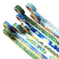 ingrosso nastro adesivo verniciato-All'ingrosso- 2016 1 Pz Washi Tapes Diy Van Gogh Pittura nastro adesivo carta nastri adesivi decorativi Scrapbooking adesivi Dimensioni 15mm * 7m