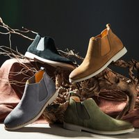 Wholesale Pictures Cows - Real Picture Famous Design Man Paris Suede Leather Slip-on Chelsea Boots Leather Men Shoes