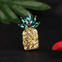 Wholesale beautiful brooches resale online - Different Beautiful rhinestone pineapple Brooches fruit pins Gold Color Enamel Decoration Accessories Shirt Corsage Souvenir Holiday Gift