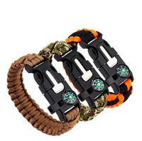 Wholesale Survival Bracelet Whistle Clasp - Outdoor Survival Bracelets 5 in 1 Gear Kits Escape Paracord Bracelet Flint Whistle Compass Scraper for Hiking Camping