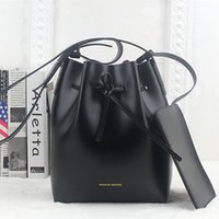 Wholesale Leather Drawstring Purse - Wholesale-Mansur Gavriel bucket genuine leather bag shoulder famous brand luxury crossbody bags for female drawstring with small purse