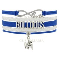 Wholesale Infinity Mens Bracelet - Custom-Infinity Love Bulldogs Bulldog Metal Charm Women's Mens Fashion White Blue Leather Multilayer Wrap Bracelet Custom