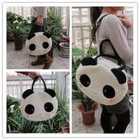 Wholesale Shoulder Bags For Middle School - Wholesale- Super sweet 1pc 36cm cartoon plush cute happy panda middle handbags school shoulder bag children funny toy gift for girl