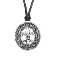 Wholesale Easter Lily Pendant - Classic Medieval Fleur de Lis Pendant Womens Clothing Accessories Slipknot Necklace French flower LILY Pagan Tibetan Jewelry