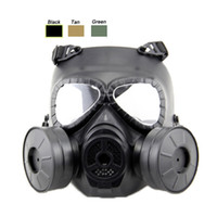 Unisex paintball anti fog mask - Outdoor Equipment Airsoft Paintball Shooting Full Face Tactical Anti Fog Paintball Mask with Two Air Filtration Fan