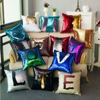 Wholesale patchwork cushion covers - Mermaid Sequins Pillow Case Sequin Pillowslip Magic Glamour Reversible Pillow Covers Sofa Bright Glitter Car Cushion Home Decorative IB323