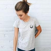 Wholesale Wholesale Alien T Shirts - Wholesale- Brandy Melville AA Style Embroidery ET Aliens Pullover T-Shirt Harajuku Casual O-Neck Women Trendy Femme Dames Kleding Dot Tops