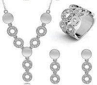 Wholesale Jewelrys Sets - Silver Golden Plated 3Pcs Jewelrys Sets Lovely Circle Design Choker Tassel Necklace Earrings Ring Sets For Women Wedding Gifts