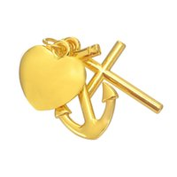 Wholesale Rhodium Plated Cross - Hot Sell Jewelry Anchor Cross Heart Rhodium 18 k Gold Plated Blank Charm DIY Necklace&Bracelet 5pcs