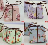 Wholesale Pink Ribbon Favors - Wholesale-100Pcs Trapezoid Green   Purple   Blue   Pink Floral Printed Flower Wedding Favors Candy Boxes Party Gift Boxes With Ribbons