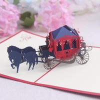 favores del carro de papel al por mayor-Tarjetas de felicitación Fiesta de cumpleaños decoraciones para fiestas de cumpleaños Niños Carro Papel de arte Pop-up Tarjetas de boda Tarjetas de felicitación