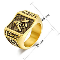 Mélange D'or 24k Prix-Hot Sale Retro Fashion 24K plaqué or Freemason Signet Ring Jewelry Taille: 7/8/9/10/11/12/13 Mix Order