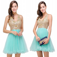 Wholesale Mint V Neck Cocktail Dress - 2017 New Mint Green Embroidery Appliqued Short Mini Homecoming Dresses Ruffles A Line Sexy Keyhole Backless Short Prom Cocktail Gown CPS356