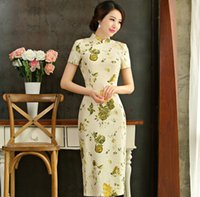 Wholesale Modify Dress - Chinese Clothing Cultivate One's Morality Show Thin Short Sleeved Big Yards Restoring Ancient Ways The New Modified Flax Long Cheongsam