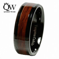 Wholesale antique wedding bands men for sale - Group buy Queenwish Promise Rings mm Tungsten Carbide Ring Red Wood Inlay Black Plat Match Men and Women Wedding Bands Ring Size Antique Jewelry