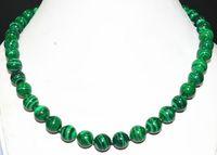 "Wholesale Malachite Green Pearl - New 10mm Green Gorgouese Malachite Gem Round Beads Necklace 18""AAR"