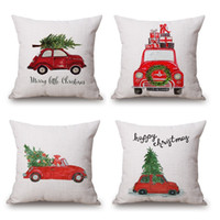 Wholesale Silver Cushions Covers - Car Driving Cushion Cover Family Present Pillow Cover Thin Linen Pillow Cases Forest Deer 45X45cm Merry Christmas Bedroom Sofa Decoration