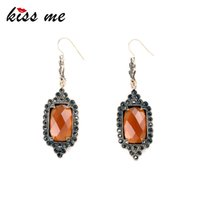 Wholesale New Factory Design - Fashion Jewelry New Design Brown Geometric Imitation Gems Dangle Earrings Factory Wholesale