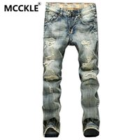 Wholesale Jean Capris For Men - Wholesale-Vintage Mens Ripped Jeans Pants Slim Fit Distressed Denim Joggers For Male Brand Designer Destroyed Jean Trousers Plus Size 42