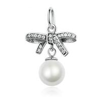 Wholesale Elements Pearl Bracelet - 925 Sterling Silver Bowknot Charm Pendant With Pearl Fit Original Pandora Bracelet Pendant Authentic Fine Jewelry