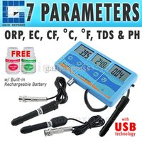 Wholesale Ph Cf - PHT-027 Multi-function 7-in-1 ORP (mV), PH, CF, EC, TDS (ppm), degree F, degree C Meter Tester Thermometer + Built-in Rechargeable Battery