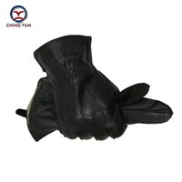 Wholesale Leather Hair Gloves - Wholesale- New Winter man deer skin leather gloves 2016 male warm soft men's gloves black men mittens 70% wool and rabbit hair lining-06
