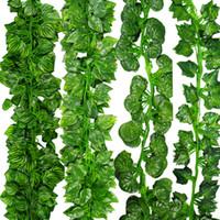 Wholesale Fake Feet - 12pcs Lot 6.56 feet Artificial Ivy Leaf Garland Plants Vine Fake Foliage Flowers Plastic Plants For DIY decoration Free Shipping