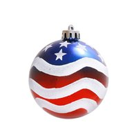 Wholesale painting christmas tree - Christmas Tree Ornament Color Painted Wave Stripe Stars Pattern Ball Hanging Holiday Festival Decor Hot Sale 9 8yh F R