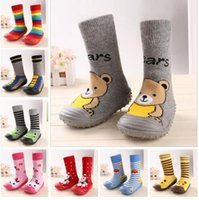 Atacado- Newborn Baby Boy Girl Socks Anti Slip Soft Rubber Soled Outdoor Shoes Crib Infant Children Animal Cartoon Shoes Botas Chinelos
