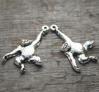 Wholesale Monkey Lovely - 10pcs--Monkey charms,Antique Silver Lovely Gorilla M
