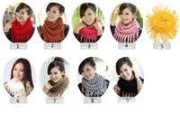 Wholesale Girls Ladies Knitted Scarves - women scarf rings knit scarves female Womens Winter Knit Infinity Circle Scarf Wrap Scarves girls tassel ladies neck scarf