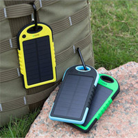 Wholesale Solar 4s - Hot Waterproof Solar Power Bank 5000mAh Portable Charger Travel Enternal Battery Powerbank for Xiaomi Iphone 5S 6 4S HTC Sumsang