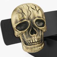 Wholesale Genuine Leather Skull - Brand Designer Mens Belts Genuine Leather Fashion Belt For Men Hip Hop Style Copper Skull Buckle Belts Cowskin High Quality