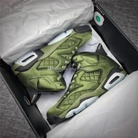 Wholesale Air Winter Jackets - Air Retro 6 Flight Jacket Pinnacles Basketball Shoes Sneakers Men Nylon Army Green Top Quality With Original Box 2017 AH4614-303