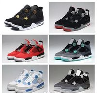 Wholesale Wholesale Mens Canvas - (Free By DHL) Wholesale Retro (4)IV Basketball Shoes cement Bred Black Gold White ROYALTY Top quality Mens BRED 4s Sport Sneakers