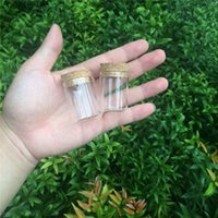 Wholesale Glass Food Covers - 30*40mm 15ml Glass Vials Jars Test Tube With Cork Stopper Empty Glass Transparent Clear Bottles 100pcs lot