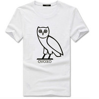 Wholesale Owl Neck - Hot Men Candy Color 100% Cotton Owl OVOXO Letters Print Skateboard T Shirts Man Cotton Short Sleeve T-Shirt Tops Tee