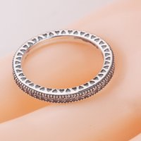 Wholesale Two Rings For Sale - Factory Sales 100% 925 Sterling Silver Charms Rings white two layer crystals round Ring Fits For European Pandora Jewelry fashion women