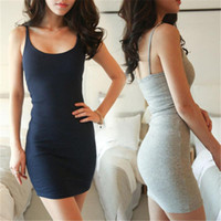 Wholesale tight black cotton dress - Womens Casual Dresses Tight Bodycon Sleeveless Evening Party Cocktail Short Mini Dress Best Item Fashion Vest Slip Dress Sexy Summer Dresses