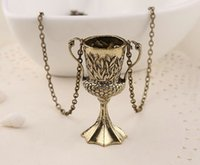 Wholesale Skeleton Child - vintage children Movie Relief Emboss leaf algae Trophies Trophy necklace goblet pendant Gold European Cup necklace x146